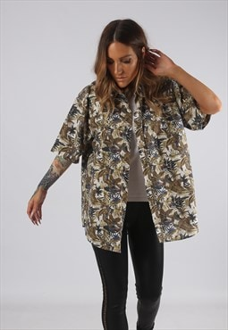 Vintage Print Patterned Shirt Oversized Fitted UK 16 (F2Q)
