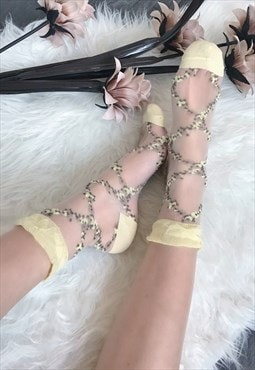 Yellow Sheer Ankle Socks