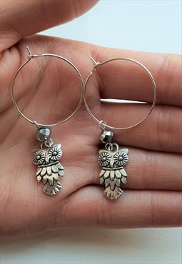 owl earrings - silver hoop earrings