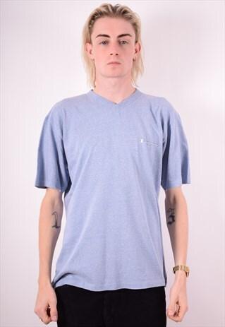 CHAMPION MENS VINTAGE T-SHIRT TOP LARGE BLUE 90S
