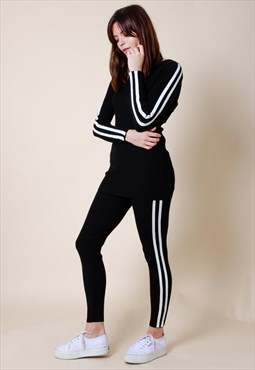 Knit Stripe Loungewear Set With Hood - Black