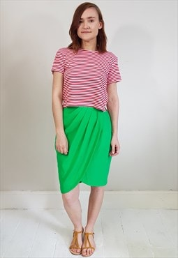 Vintage 80's Green Wrap Style Tulip Pencil Skirt