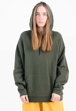 Basic Oversized Hoodie in Khaki with Pouch Pocket