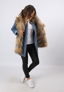 Faux Fur Gilet Waistcoat Jacket Long UK 8 - 10 (E8CG)