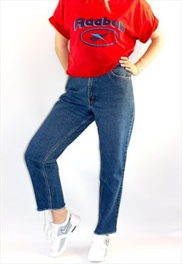 Vintage 80's 501 Dark Blue Raw Hem Levi's Mom  Jeans