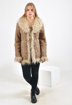 Vintage faux fur faux suede leather coat