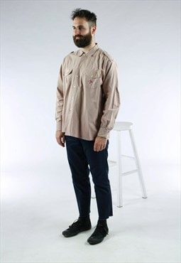 Beige Boy Scout Shirt / Oversized Button Up Shirt