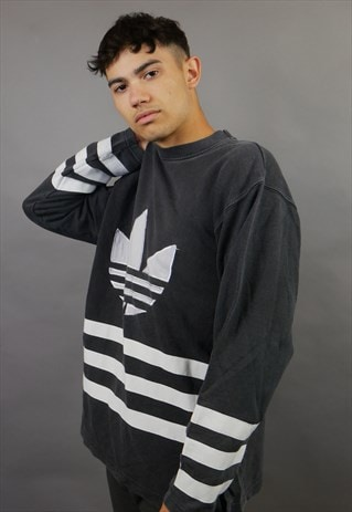 DARK GREY ADIDAS ORIGINALS SPELL OUT SWEATSHIRT