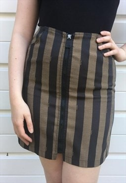 Womens Vintage 80s 90s Fendi skirt zucca stripy high waisted