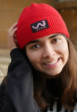 Recycled Fishermans Beanie in Red With Worm Embroidery