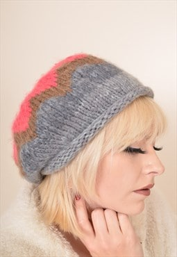 Vintage Knitted Wool Beanie Hat in Pink and Grey