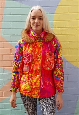 Vintage 80s bright printed hooded ski jacket anorak