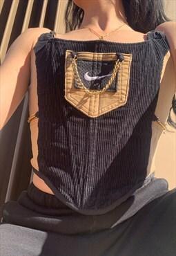 Reworked black Nike utility corset