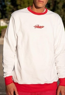 Handmade Sweatshirt in White With Red Cuffs and Back Patch