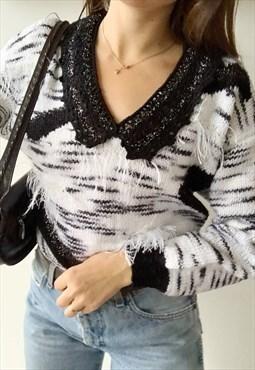 Vintage 80s fluffy jazzy handknitted Parisian jumper sweater