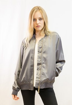 Plain color Oversized relaxed fit  satin Bomber Jacket Grey