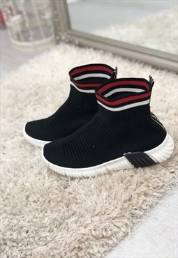 black chunky sole high runner sock trainers