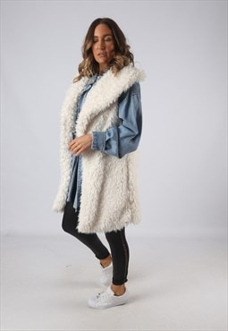 Faux Fur Gilet Waistcoat Oversized Jacket Long UK 16 (DKDI)