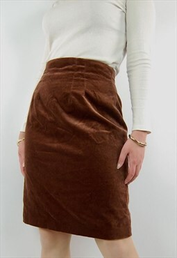 Vintage Laura Ashley copper velvety high waist pencil skirt