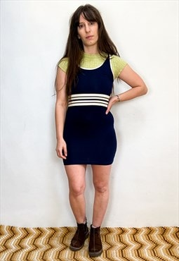 Vintage 90's Blue Stripe Sporty Mini Dress
