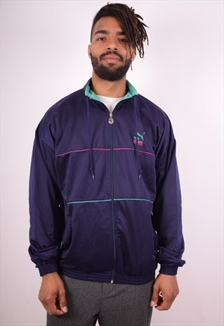 PUMA MENS VINTAGE TRACKSUIT TOP JACKET LARGE PURPLE 90S