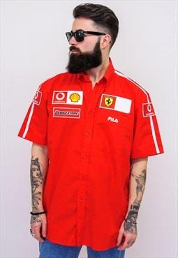 Vintage FILA FERRARI Short Sleeves Shirt Red B165