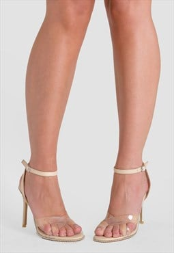 Athena Perspex Studded Barely There Heels in Nude