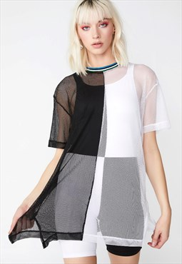 Panelled Mesh Dress in Black and White with Rainbow Rib