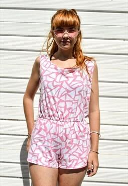 Vintage 90s Pink Pattern Playsuit