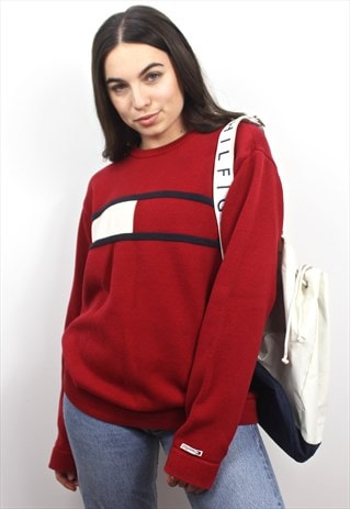 90'S RARE RETRO SPELL-OUT COLOUR-BLOCK KNIT SWEATSHIRT