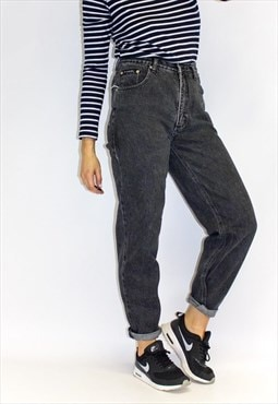 Vintage 80's Ultra High Waist Black Mom Jeans