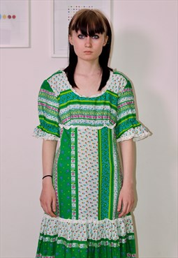 70s green bohemian summer festival dress