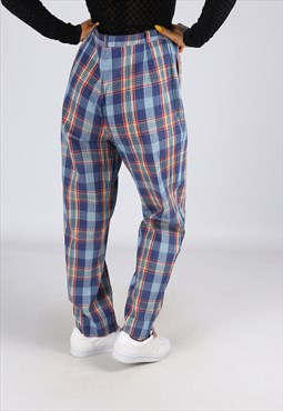 High Waisted Trousers Tartan Print Wide Tapered UK 14 (G25O)