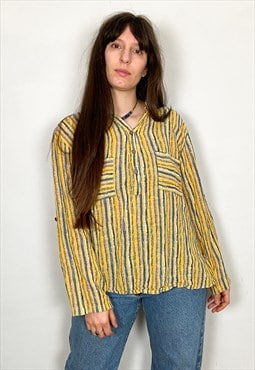 Vintage 90's Yellow Stripe Loose Long Sleeve Top