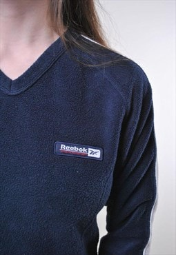 Women blue pullover minimalist Reebok fleece sweatshirt