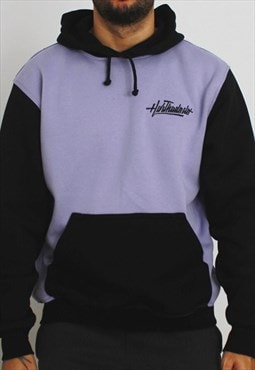 Handmade Sweatshirt Hooded in Black and Lilac