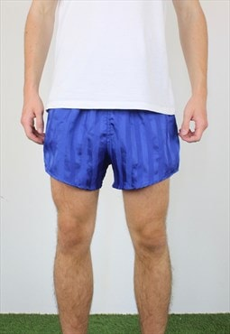 Vintage Short Shorts in Blue with Logo, Drawstring, Pockets