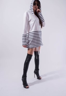 Oversized White Shirt Top Cotton Hooded Stripe Shirt F1834