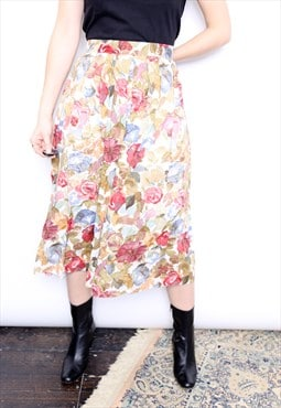 Vintage 90s Floral Print Pleated Midi Skirt