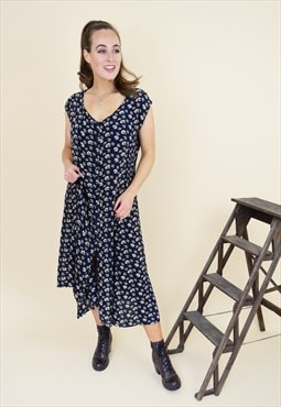 Vintage sleeveless button down floral midi dress in blue