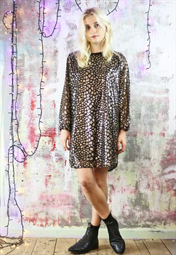 Relax Fit Dress in Black and Gold Mermaid's Tail Sequins