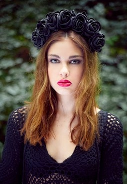 Flower Crown, Black Flower Crown, Black Floral Crown
