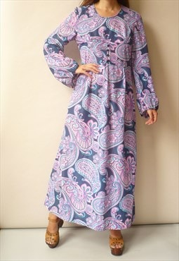 1970's Vintage Purple Paisley Floral Psych Maxi Dress