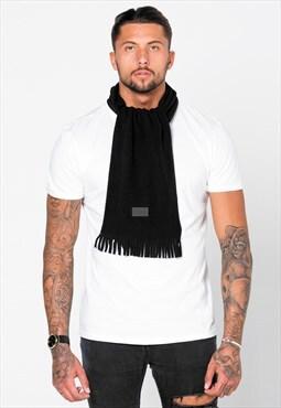 54 Floral Wool Tassle Scarf - Black