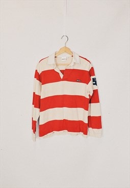 Vintage 90s Ellesse Red Beige Striped Rugby Polo Top