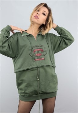 Vintage 90s Oversized 1/4 Sweater Sweatshirt Green