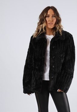 Faux Fur Coat Jacket Short Vintage UK 16 (G92C)