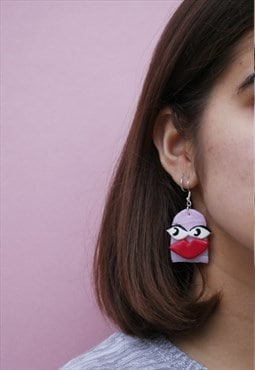 Handmade earrings in pink sassy worm face