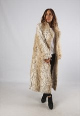 Vintage Faux Fur Coat Jacket Long UK L 14 (9BR)