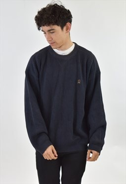 Vintage 90s Navy Blue Ribbed Tommy Hilfiger Knit Sweater